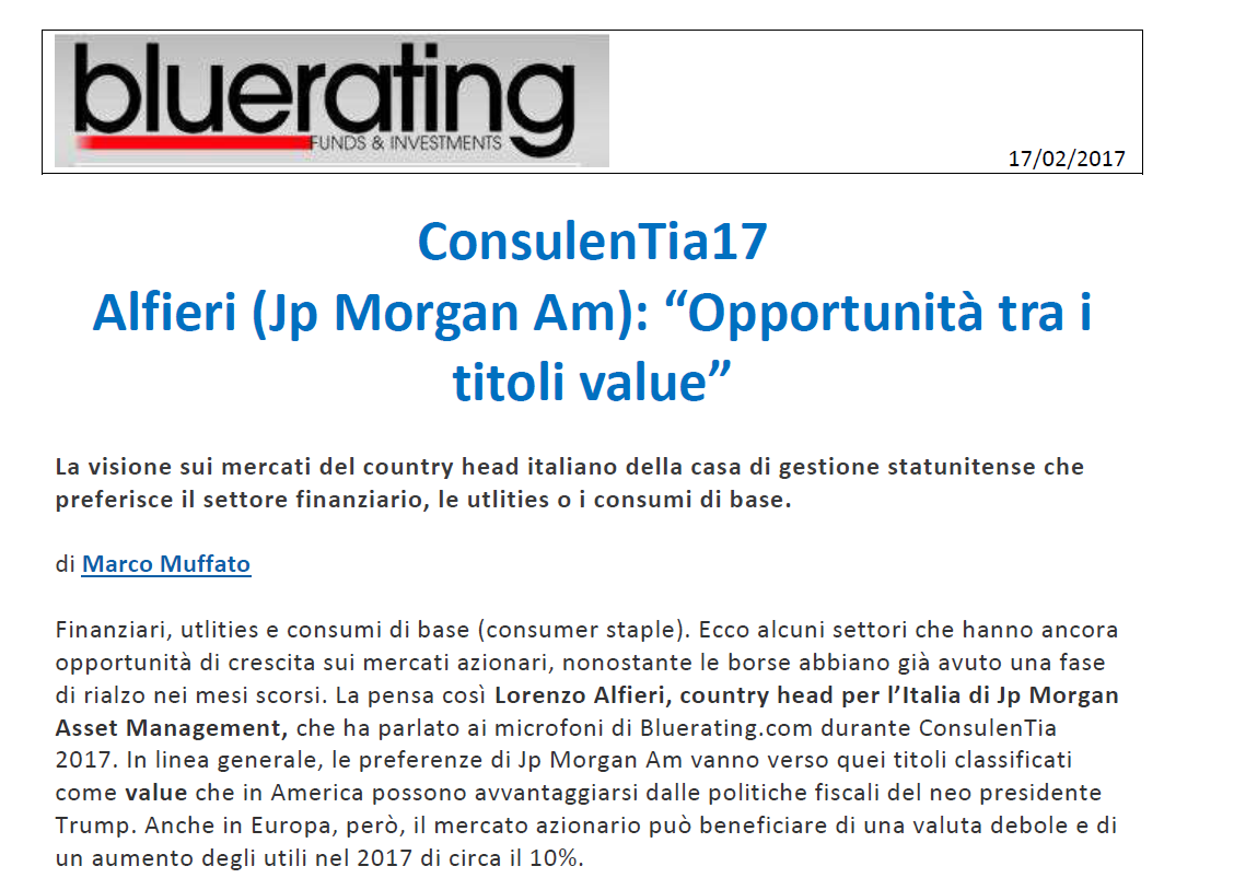 "ConsulenTia17, Alfieri (Jp Morgan Am): ""Opportunità tra i titoli value"""