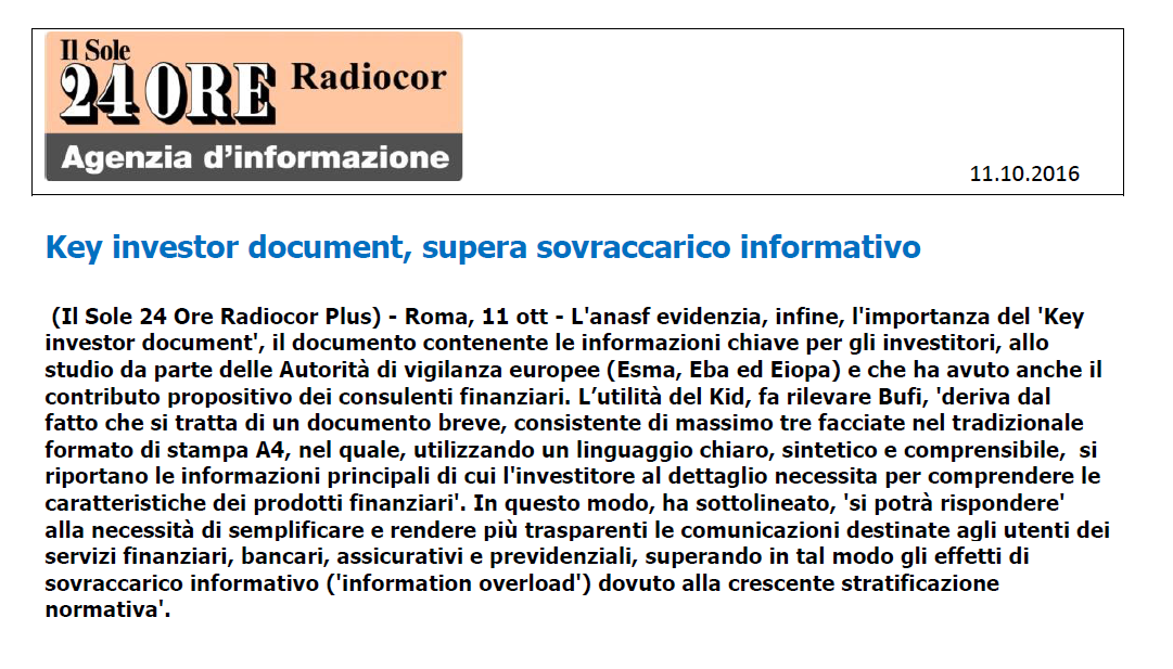 Key investor document, supera sovraccarico informativo