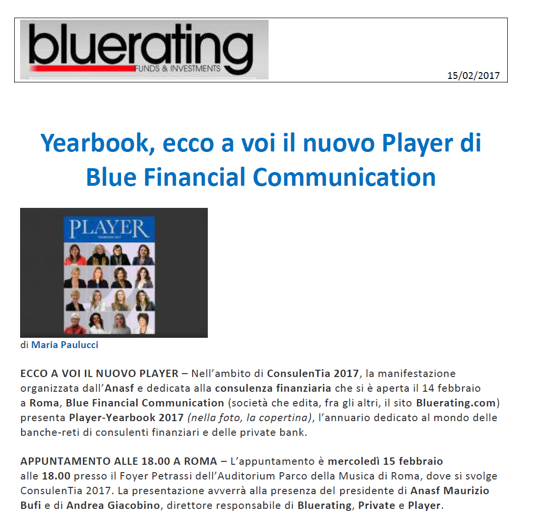 Yearbook, ecco a voi il nuovo Player di Blue Financial Communication